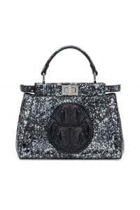 Fendi Black/Gray Paint Splatter Print Peekaboo Mini Bag