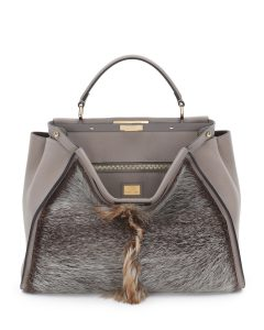 Fendi Brown Fur/Leather Peekaboo Large Bag