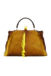 Fendi Brown/Yellow Gazelle Fur Peekaboo Mini Bag
