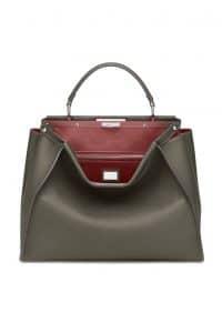 Fendi Dark Green/Red Peekaboo Large Bag