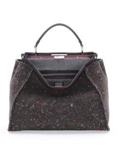 Fendi Gray Multicolor Felt/Shearling Peekaboo Large Bag