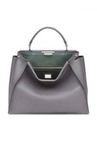 Fendi Gray/Green Peekaboo Large Bag