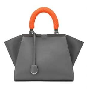 Fendi Grey with Orange Mink Handle Mini 3Jours Bag