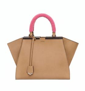 Fendi Light Tan with Pink Mink Handle Mini 3Jours Bag