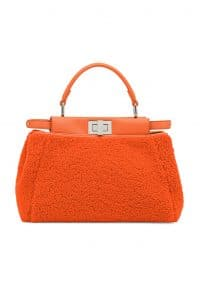 Fendi Orange Shearling Peekaboo Mini Bag