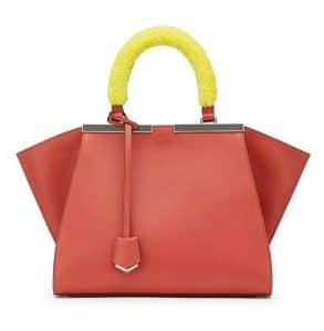 Fendi Orange with Yellow Mink Handle Mini 3Jours Bag