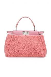 Fendi Pink Shearling Peekaboo Mini Bag
