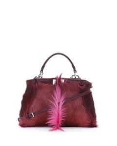 Fendi Pink/Burgundy Gazelle Fur Peekaboo Mini Bag