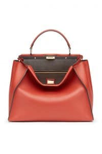 Fendi Red/Taupe Peekaboo Large Bag