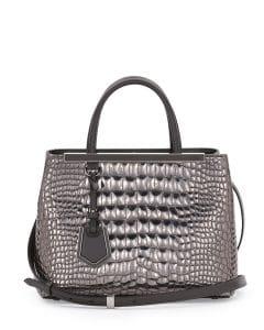 Fendi Silver Mirror Croc Print 2Jours Mini Tote Bag