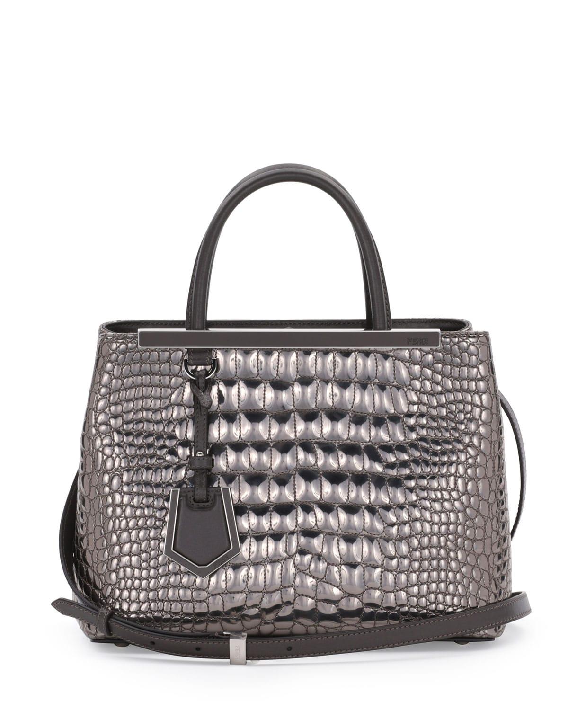 1b2798486 ... usa fendi silver mirror croc print 2jours mini tote bag 5b228 8ddbc