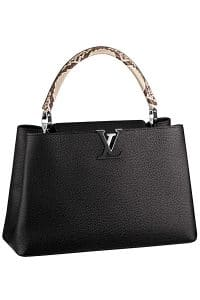 Louis Vuitton Capucine Black with Python Handle Tote Bag - Fall 2014