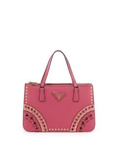 Prada Pink Multicolor Saffiano Tote with Metal Studs and Stones Bag