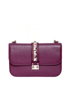 Valentino Aubergine Rockstud Flap Large Bag