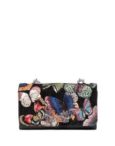 Valentino Black Butterfly Embroidered Va Va Voom Clutch Bag