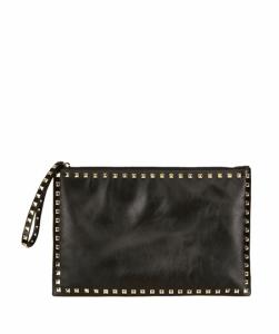 Valentino Black Rockstud Large Soft Pouch Bag