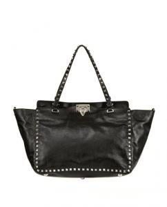 Valentino Black Rockstud Tote Medium Bag
