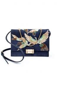Valentino Blue Embroidered Close Up Shoulder Bag