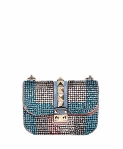 Valentino Blue/Pink Rhinestone Rockstud Flap Small Bag