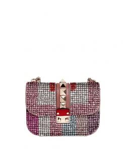 Valentino Pink Multicolor Rhinestone Rockstud Flap Small Bag