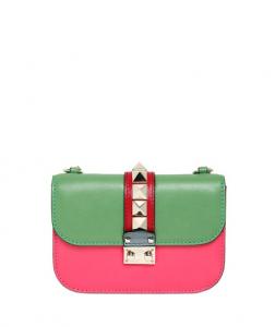 Valentino Pink/Green/Blue Rockstud Flap Small Bag