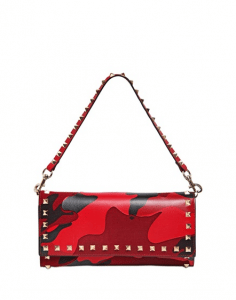 Valentino Red Camouflage Patchwork Clutch Bag