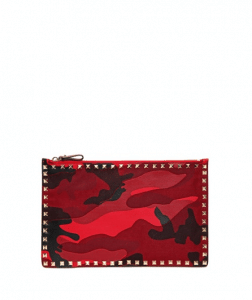 Valentino Red Camouflage Patchwork Pouch Bag
