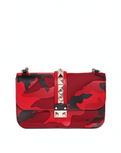 Valentino Red Camouflage Patchwork Rockstud Flap Large Bag