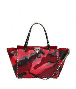 Valentino Red Camouflage Patchwork Rockstud Tote Medium Bag