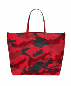 Valentino Red Camouflage Patchwork Tote Bag