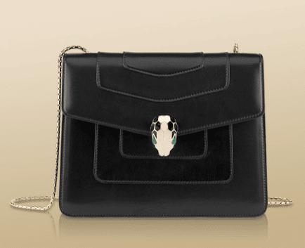 Bulgari Black Serpenti Flap Medium Bag