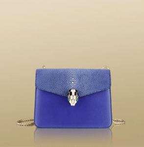 Bulgari Blue Calfskin/Galuchat Serpenti Flap Small Bag
