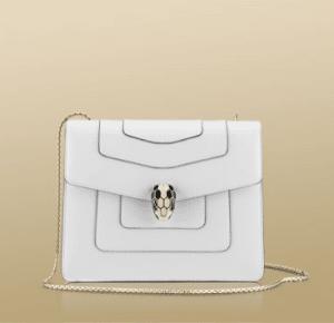 Bulgari Ceramic White Serpenti Flap Medium Bag