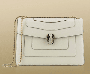 Bulgari Chalk Serpenti Flap Small with Two Gussets Bag