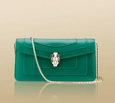 Bulgari Emerald Green Serpenti Flap Clutch Bag