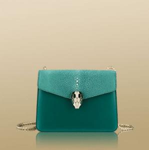 Bulgari Green Calfskin/Galuchat Serpenti Flap Small Bag