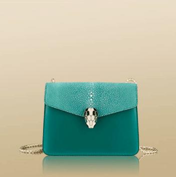 Bulgari Green Calfskin Galuchat Serpenti Flap Small Bag