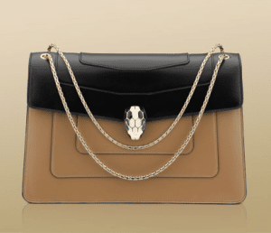 Bulgari Petra Brown/Black Serpenti Flap Small with Two Gussets Bag