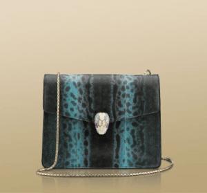 Bulgari Sky Blue Karung Serpenti Flap Medium Bag
