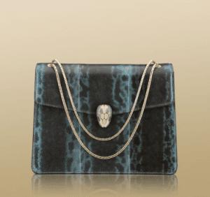 Bulgari Sky Blue Karung Serpenti Flap Medium with Two Gussets Bag