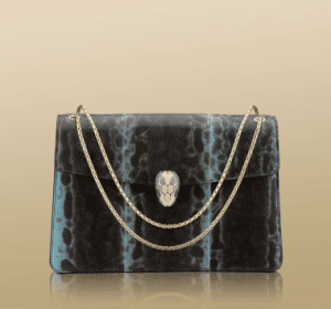 Bulgari Sky Blue Karung Serpenti Flap Small with Two Gussets Bag