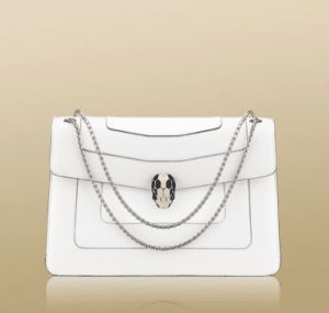 Bulgari White Serpenti Flap Small with Two Gussets Bag