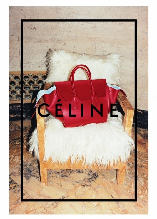 Celine Red Tie Tote Bag with Azur Blue Lining - Fall 2014