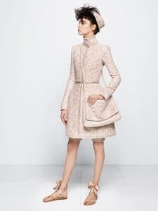 Chanel Beige Tweed Dress and Messenger Bag - Fall 2014 Haute Couture