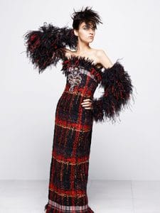 Chanel Black/Red Tweed Long Dress - Fall 2014 Haute Couture