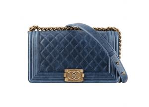 Chanel Grained Blue Calfskin Boy Bag - Fall 2014