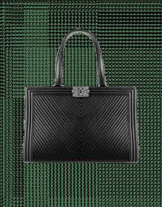 Chanel Black Herringbone Chevron Tote Bag