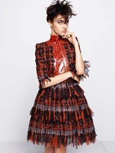 Chanel Red/Black Tweed Dress - Fall 2014 Haute Couture