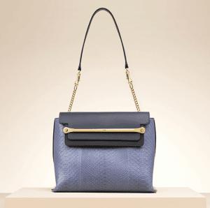 Chloe Street Blue Python:Calfskin Clare Shoulder Bag