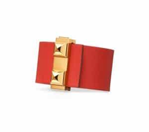 Hermes White/Capucine Red Imprevisible Bracelet 2